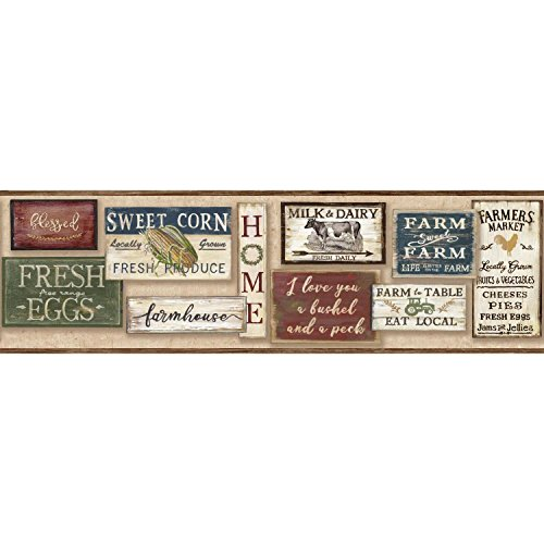 York Wallcoverings LG1362BD Farm To Table Wallpaper Border - Red  Spray with Water and Hang   Ultra Easy