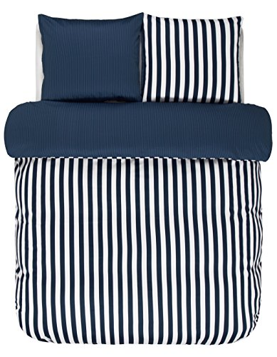 Marc O ' Polo Satin Bettwäsche Classic Stripe | Größe 135 x 200 cm | Farbe Indigo Blue | Indigo Blau