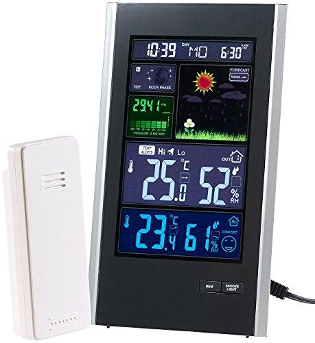 infactory Wetterstation Uhr: Funk-Wetterstation mit Außensensor, Wecker & USB-Ladeport (2 Ampere) (Wetterstation mit Netzteil)