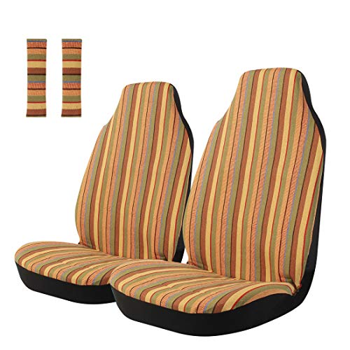 Copap 4pc Multi-Color Car Seat Covers Yellow Baja Stripe Saddle Blanket Bucket...