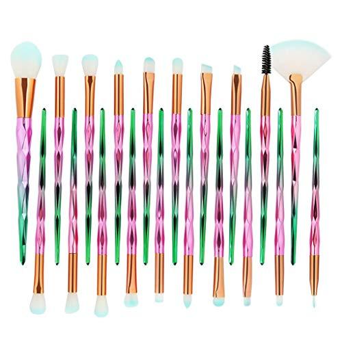 SDENSHI 20Pcs Unicorn Eye Brush Set Blending Crease Kit - as described, Diamond Pink Green