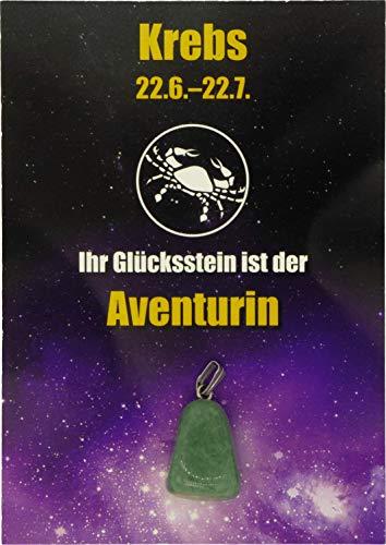 Edelstein-Sternzeichenanhänger | Glücksstein für die Sternzeichen mit Infokärtchen (Krebs - Aventurin)