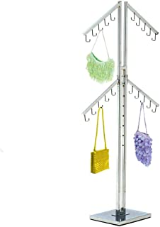 Only Hangers Four Arm Chrome Handbag Rack with Adjustable Height J-Hook Arms