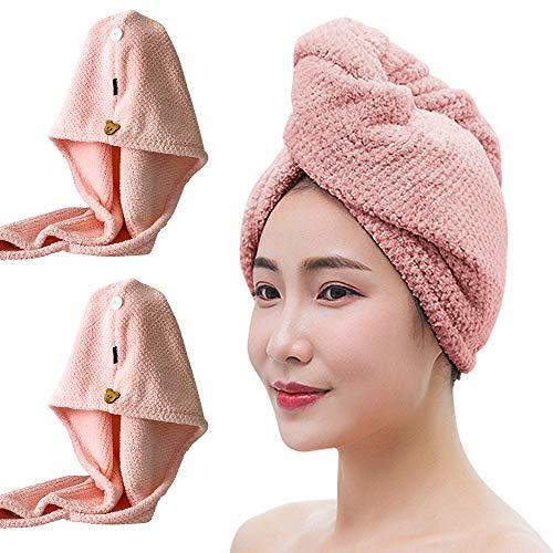 N\A Toalla de pelo, turbante de pelo, paquete de 2 toallas de microfibra súper absorbente, turbante