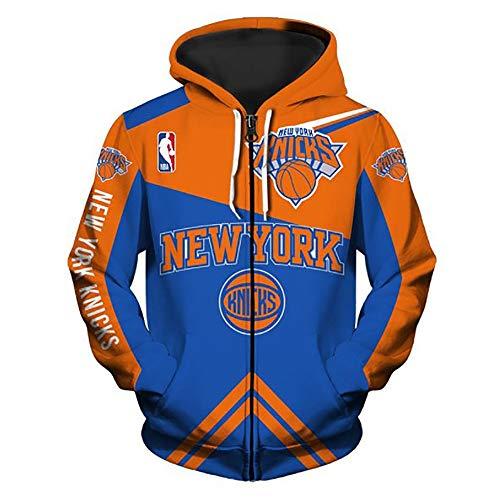 Ordioy Giacca con Cappuccio da Uomo Uniforme da Basket, NBA New York Knicks Felpa con Cerniera Intera Abbigliamento Maglie da Allenamento per Fan, Maglia Sportiva Calda, per Ragazzi Ragazza,M