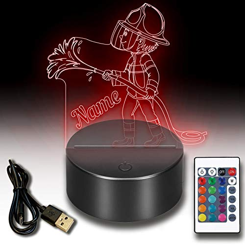 3d LED Lampe Nachtlicht Feuerwehr personalisiert mit deinem Wunschnamen Inklusive Fernbedienung USB Kabel 7 Farben. Als Deko Licht für deinen kleinen Feuerwehrler