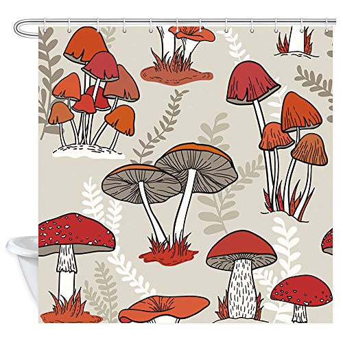 Mushroom Shower Curtain for Bathroom, Retro Psychedelic Mushrooms on Grass Polyester Fabric Cartoon Bath Curtain, Beige Watercolor Floral Red Shower Curtain Set with Hooks, 69X70in