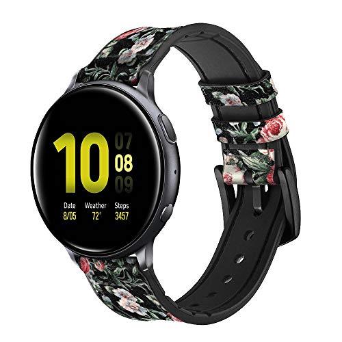 Innovedesire Vintage Rose Pattern Correa de Reloj Inteligente de Cuero y Silicona para Samsung Galaxy Watch, Watch3 Active, Active2, Gear Sport, Gear S2 Classic Tamaño (20mm)