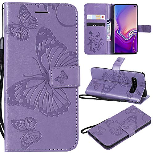 V30 Wallet Cases Embossed 3D Butterfly PU Leater Flip Phone Case Cover for LG V30+ Plus   V30S   V35 ThinQ - Purple