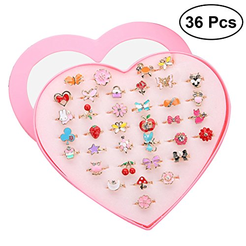 TOYMYTOY Adjustable rings sparkle with presentation box of heart shape for children's birthday party favors, 36pcs