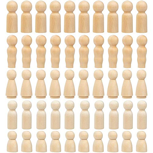 Gigicloud 50 Packs Wooden Doll Peg Girl Hand Painted Unfinished Wooden People Angel Dolls for DIY Craft Home Decoration