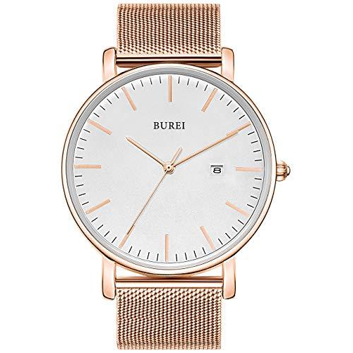 BUREI Stilvolle Minimalistische Ultra Slim Herren Uhr Weiß Datum Großes Gesicht Armbanduhr mit Rosa Armband