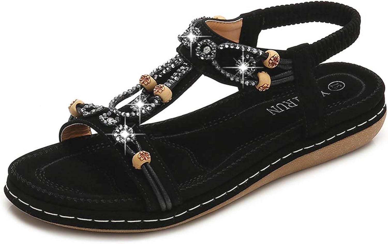 Tuoup Women's Strap Flat Jeweled Beach Sandals Ladies Sandles
