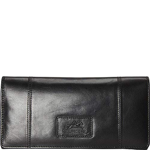 Mancini Ladies' RFID Secure Trifold Leather Wallet in Black