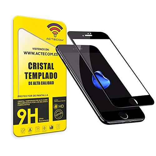 actecom® Protector Pantalla Completa 3D 5D Negro Cristal Templado iPhone 8 Plus