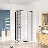 Mampara de ducha Angular,120x80x185cm, con antical,perfilería negra,estilo industrial,Cristal templado de 6 mm