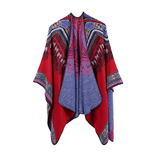 YEBIRAL Damen Fcostume Winter übergroße Farbe Block Schal Wrap Frontseite öffnen Warme Poncho Cape(130X150cm,D)