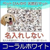 ペット冷却タイル大型ホワイト系大理石コーラルホワイト 40×40cm(名入れ無し)石専門店.com