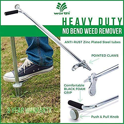 "Worth Garden Stand-Up Weeder and Root Removal Tool - Ergonomic Weed Puller with A 33"" Tall Handle and Foot Pedal - Easy Weed Grabber Made from Rust-Resistant Steel - 3 Year Warranty - T701A00"