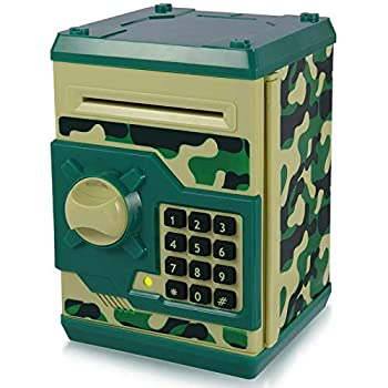 Yoego Kids Money Bank Electronic Piggy Banks Great Gift Toy for Kids Children Auto Scroll Paper Money Saving Box Password Coin Bank,Perfect Toy Gifts for Boys Girls Green Camo
