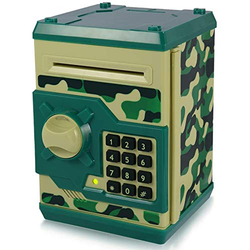 Yoego New Kids Cartoon Electronic Money Bank, Security Piggy Bank Mini ATM Password Coins Money Savings Box Toys Smart Voice & Music Prompt,Code Lock for Children/Toy Gifts Birthday Gift (Green Camo)