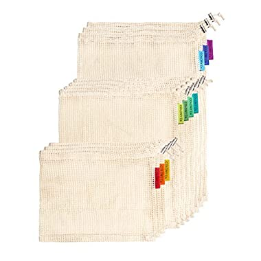 Reusable Produce Bags | Natural Cotton Mesh is Biodegradable | Our Packaging is Recyclable | Machine Washable | Tare Weight on Label | Double-Stitched Seams | Set of 9 (3 Small - 3 Medium - 3 Large)