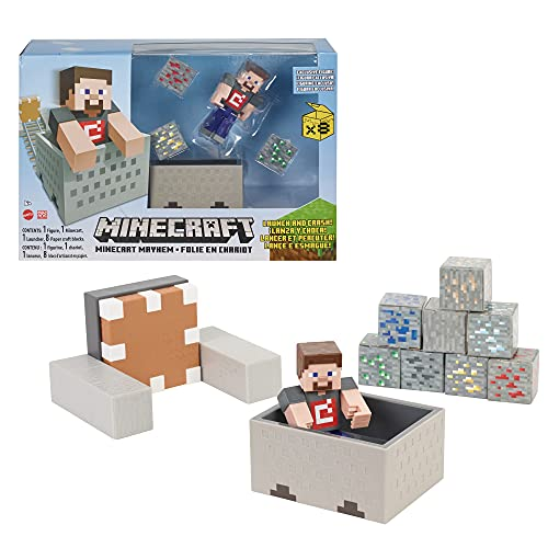 Minecraft Minecart Mayhem Playset with Steve Character Figure, Launching Cart and Accessories, Creation, Exploration and Survival Game for Kids Ages 6 Years and Older