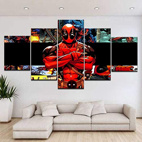 yuandp Deadpool voor thuis, woonkamer, 5 plankjes, HD print, moderne kunst L-30x40 30x60 30x80cm Geen lijst