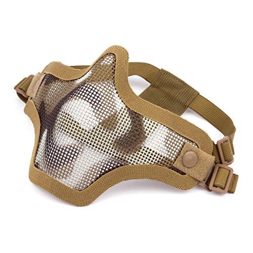 GES al Aire Libre táctico CS Malla de Alambre máscara Airsoft Malla de Acero máscara de la Mitad de la Cara con Camuflaje para Airsoft Shooting Paintball (Cráneo Verde)