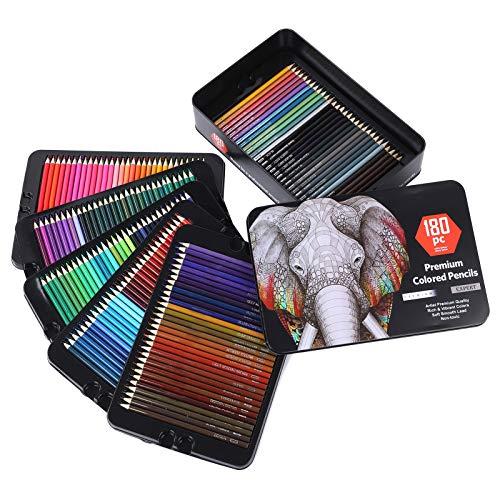 Juego de lápices de colores de 180 piezas, herramientas profesionales de dibujo para pintar para adultos, con caja de hierro, portalápices de registro más seguros y pintura a base de agua, juego de lá ⭐