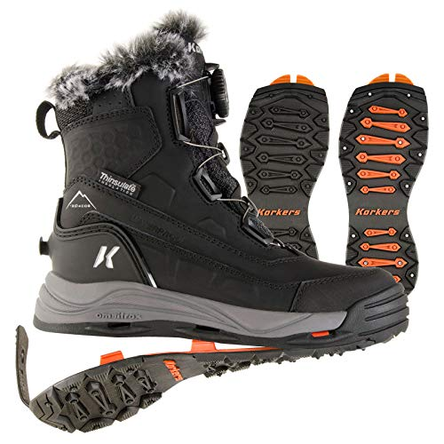 Korkers Women's Snowmageddon Winter Boots with Ice Cleat Soles (7.5) Black