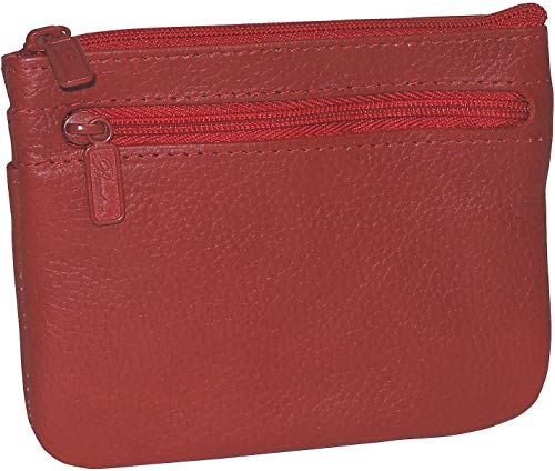 Buxton Womens Leather Id Coin Card Case Wallet (Red - RFID Protected)