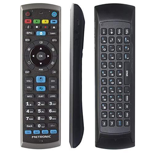 Metronic 441268 - Mando a distancia universal para PC, giroscópico, air mouse, con teclado QWERTY, receptor RF USB para Smart TV Android - incluye smart TV Android