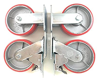 """6"""" x 2"""" Heavy Duty Metal CASTERS with Poly Tread - Foghorn Construction"""