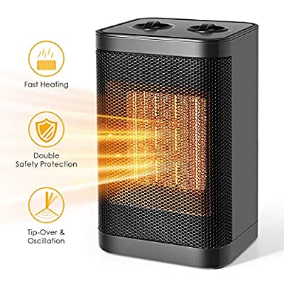 WEEKSTART Space Heater, Personal Heater Fan - Ceramic Electric Heater for Home/Office/Bedroom with Overheat Protection, Small Desk Fan?750W/1500W?