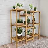 Pure Garden 50-LG5004 Multi-Level Plant Stand-Freestanding 9 Shelf Bamboo Storage Rack, Wooden