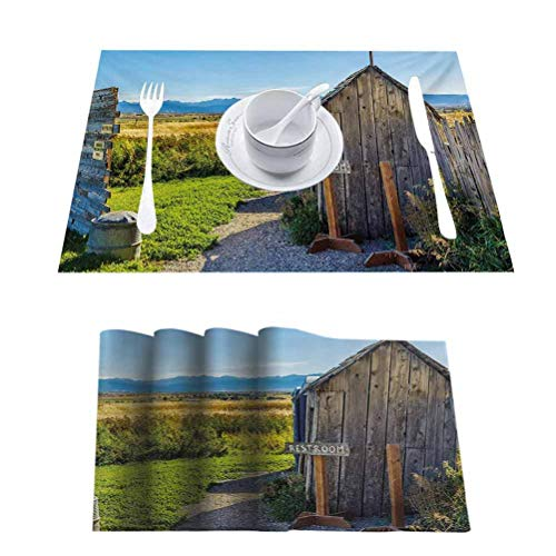Decor Heat-Resistant Table Mat Placemats, Outhouse Old Rustic Wooden Cottage Barn Shed in, for Everyday Indoor/Outdoor Dining Special Occasions or Dinner Parties, Set of 10