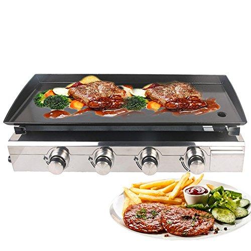 TRUSTME Gas BBQ Grillplaat Plancha Grill 4 Branders LPG Steak Machine CE 84x34cm Gietijzer Kookplaat Outdoor Grill Commercieel & Tuin Gebruik