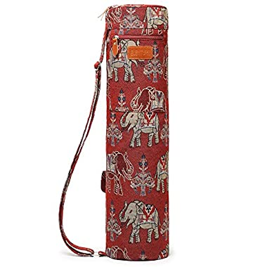 ELENTURE Full-Zip Exercise Yoga Mat Carry Bag with Multi-Functional Storage Pockets (Red and Elephant)