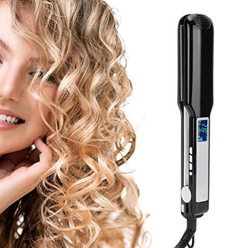 Plancha de pelo eléctrica, plancha de pelo plancha plana, rizador de pelo, pantalla de temperatura de cristal líquido, alisa y riza con temperatura ajustable, calentamiento instantáneo