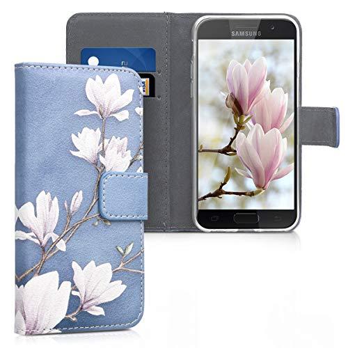 kwmobile Hülle kompatibel mit Samsung Galaxy A3 (2017) - Kunstleder Wallet Case mit Kartenfächern Stand Magnolien Taupe Weiß Blaugrau