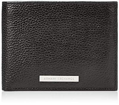 Armani Exchange Men's Leather Trifold Credit Card Wallet, nero/black, UNI