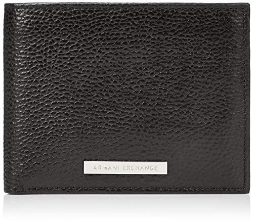Armani Exchange Herren Trifold Credit Card Holder Kartenetui, Schwarz (Nero-Black), 2.5x12x9.4 cm