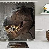 Juego de cortinas y tapetes de ducha de tela,Cabeza de dinosaurio en el agujero de la pared de cemento Jurassic World,cortinas de baño repelentes al agua con 12 ganchos, alfombras antideslizantes