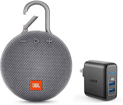 JBL Clip 3 Portable Bluetooth Wireless Speaker Bundle with Dual Port 24W USB Travel Wall Charger - Gray