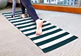 Yoga Mat in Natural Cotton Stripe-2x6 Feet (24x72 Inch)- White Teal, Extra Thick Excersise & Fitness Mat for All Types of Yoga, Pilates & Floor Exercises,Alignment Lines, Wider for More Comfortable.