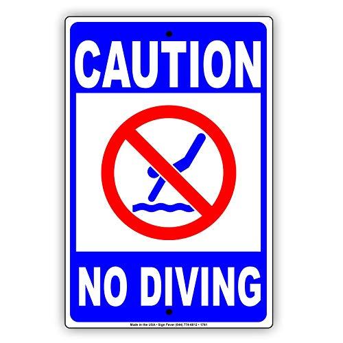 IUBBKI Placa de cartel de aluminio con texto 'Caution No Buceo' con diseño de piscina de agua poco profunda, alerta de advertencia de atención aviso de advertencia de atención, 20 x 30 cm