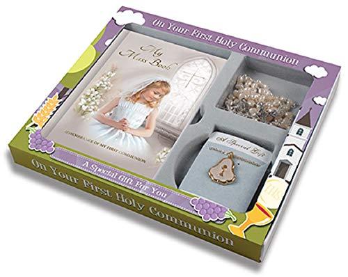 Cross My Heart FHC C5216 - Set de Regalo para Primera comunión, Libro de masas, Rosario, Medalla y Cadena