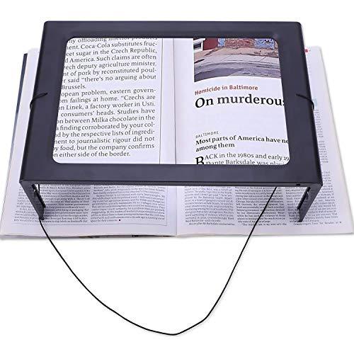 Lupe mit Licht, Leselupe Groß 2.5X Fach Vergroferung, A4 Rechteckige mit 12 LED und Klappbarer Ständer oder Halsschlaufe Lesehilfe USB & Batteriebetrieb Hände Frei für Senioren, Bücher, Schmuck