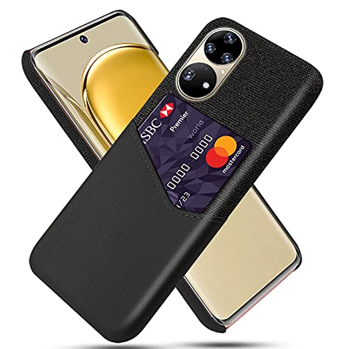 LONGSAND Compatible con Huawei P50 / P50 PR Phone Funda Atrás Funda para Mujer para Mujer Moderna Cubierta Protectora Simple con Ranura para Tarjeta,Negro,P50